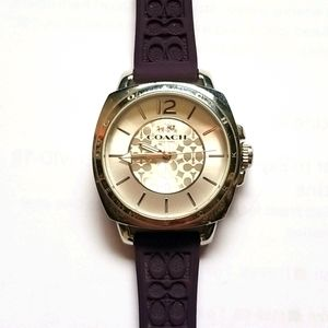 Coach watch with purple rubber strap